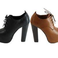 Lace up Super High Chunky Heel Bootie (7, camel) [Apparel]