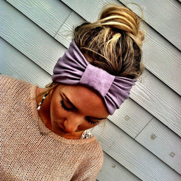 the Sparrow Headband Wide Stretchy Jersey Hair Band Ruched with Fabric Wrap in Silver Gray