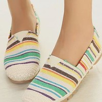 Beautiful Colorful Strip Round Toe Loafer