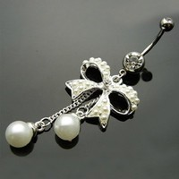 Simplifestyle Sexy Belly Button Ring 316l Surgical Steel 14 Guage Navel Belly Button Ring Bar White Rhinestone Crystal Bow Knot