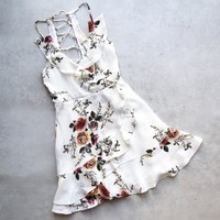 Eve floral ruffle wrap mini dress