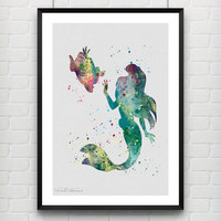 Little Mermaid Ariel Watercolor Art Print, Disney Baby Girl's Nursery Room, Minimalist Wall Decor, Not Framed, Buy 2 Get 1 Free! [No. 62]