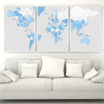 """Highly detailed printable word map in blue and gray, set of 3 panels map in 24x36"""" each panel, no quote"""