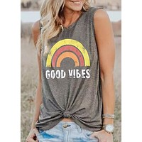VESSOS Free Shipping Dark Grey Rainbow Print Shirt Graphic tees Woman's 2018 Summer Funny crop top Harajuku Hipster top women