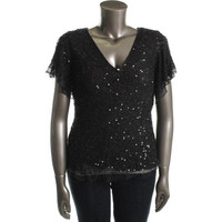 Adrianna Papell Womens Plus Silk Embellished Blouse