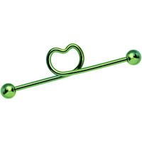14 Gauge 38mm Hollow Heart Green Titanium Industrial Barbell | Body Candy Body Jewelry