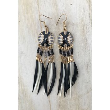 Black & Grey Feather Earrings #H1028