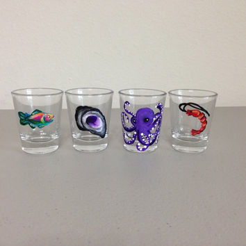 Hand Painted Shot Glasses Set of 4 Gulf Life Themed