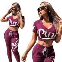 PINK Victoria's Secret Fashion V-Neck Cami Crop Shirt Top Tee Pants Trousers Set Two-Piece