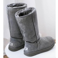 """UGG"" Women Fashion Wool Snow Boots simple high boots Grey"