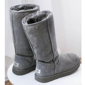 """""""UGG"""" Women Fashion Wool Snow Boots simple high boots Grey"""