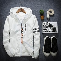 Thin Windbreaker Jacket Men  Masculina Slim Fit Young Men Hooded Bomber Jacket Men