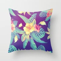 Tropical flowers Throw Pillow by printapix