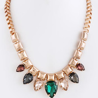 COLORFUL JEWEL STUD CHAIN NECKLACE