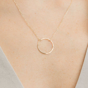 Open Circle Necklace / Karma, Love, Eternity Ring in 14k Gold Fill or Sterling Silver / Dainty Gold Necklace by GLDNjewelry / LOVE, GN132_20