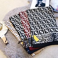 FENDI Silk Scarf Women Comfortable Silk Kerchief Cape Scarf Scarves