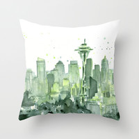 Seattle Watercolor Painting Throw Pillow by Olechka