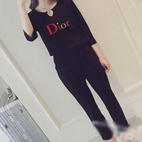 """""""Dior"""" Women's Leisure  Fashion Letter Printing Long Sleeve Cropped Trousers Couple Two-Piece Casual Wear"""