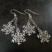 Antiqued Silver Snowflake Dangle Earrings Queen of the Winter Night