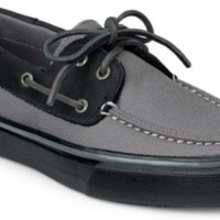Sperry Top-Sider Bahama Heavy Canvas 2-Eye Boat Shoe Gray/Black, Size 9M  Men's Shoes