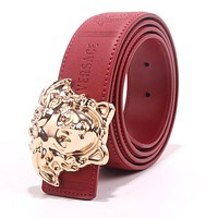 VERSACE Trending Women Men Smooth Buckle Leather Belt Red