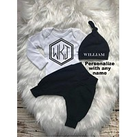 Monogrammed Black Baby Boy Coming Home Outfit