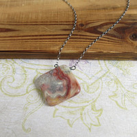 Crazy Lace Agate Necklace, Sterling Silver Rolo Chain, One Of A Kind, Agate Jewelry, Red, Gray, Yellow, Pick Your Stone