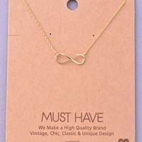 Infinity Sign Pendant Necklace - Gold