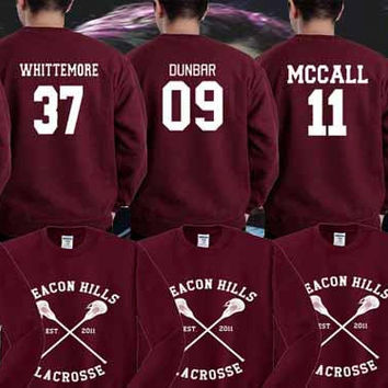 Sweater Teen Wolf Beacon Hills Maroon Stilinski 24, Mahealani 06, Mccall 11, Lahey 14,Dunbar 09,Whittemore 37 Unisex Adults Made in by USA