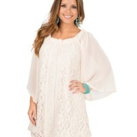 Flying Tomato Women's Cream with Lace Front 3/4 Sleeve Dress