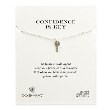 "dogeared 'reminder confidence is key pendant necklace' 16"" in sterling silver"