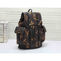 LV fashionable men's and women's casual backpacks are hot sellers of new large printed backpacks Coffee