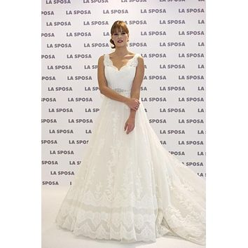 Jessica Bueno Wedding Dress Celebrity V-neck Lace Bridal Gown For Sale