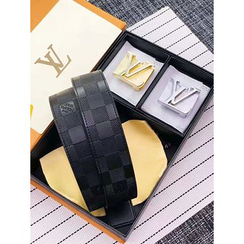 LV Louis Vuitton Fashion Men Woman Double Smooth Buckle Leather Belt+Gift Box