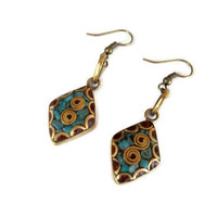 Nepal Earrings, Mother's Day, Ethnic Earrings,Turquoise and Coral Earrings,Tribal,Tibet Beads,Handmade Nepal Jewelry