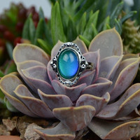Oval Mood Ring Magic Color Changing Gypsy Vintage Style Healing Crystal Gemstone Buddha Mantra Tibetan Jewelry Size 6 Adjustable