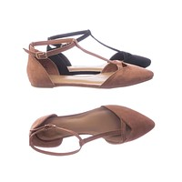 Series40 Women Flat Pointed Toe Shoes w d'Orsay Double Open Side w Ankle Strap