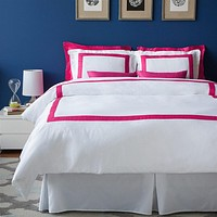 LaCozi Hotel Collection Cotton Border Frame Duvet Cover Set - Hot Pink (backorders)