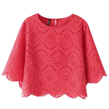 Batwing Sleeve Crochet Cropped Top