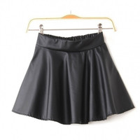 New Fashion Women/Lady Plus Size Skirt Retro Synthetic Leather High Waist Skater Flared Pleated Mini Skirt