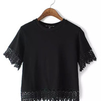 Black Lace Hem Crop Top