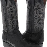 Men's black ostrich quill design leather western cowboy boots rodeo j toe TWest