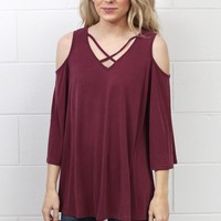 Cupro Cold Shoulder + Strappy Front Top {Burgundy}