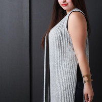 Marled Ribbed Knit Open Front Sleeveless Vest
