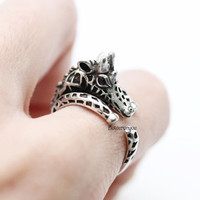 Giraffe ring, retro giraffe ring, vintage ring, retro ring, cute ring, animal ring, wrap ring, man ring, burnished ring