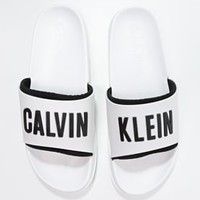 Calvin Klein Swimwear SLIDE - Sandals - white - Zalando.co.uk