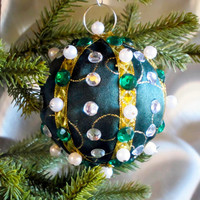Christmas Ornament, Green Ball with Gold & Pearl Accents in Gift Box, Handmade Fabric Tree Decoration, Holiday Decor, Wrapped Present Boxed