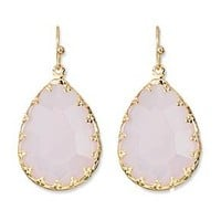 Women's Teardrop Earring with Fancy Bezel - Pink/Gold