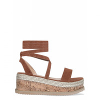 Jenny Tan Suede Lace Up Espadrille Flatforms : Simmi Shoes