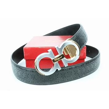 Salvatore Ferragamo Belt Fashion Contracted Smooth Gancio Buckle Belt Leather Belt055